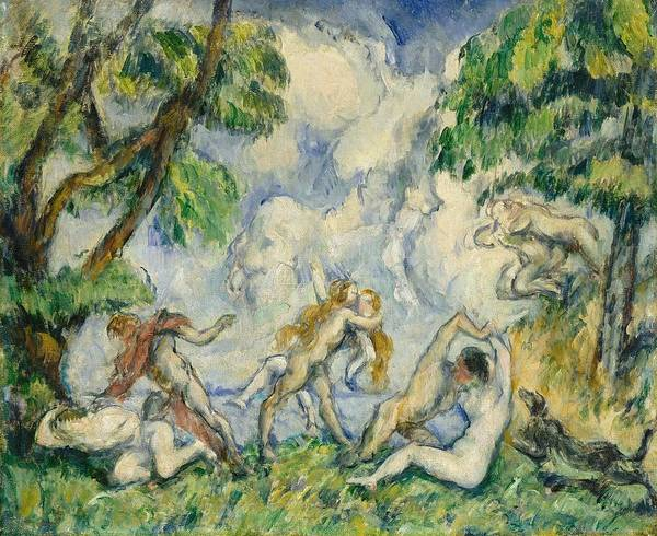 Nymph Painting - The Battle Of Love by Paul Cezanne