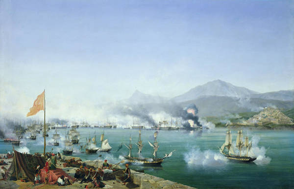 Peloponnese Painting - The Battle Of Navarino by Ambroise Louis Garneray