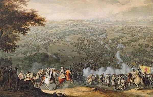 Fortified Wall Art - Photograph - The Battle Of Poltava, Engraved By One Of The Nicolas Larmessin Family, 1709 Coloured Engraving by Pierre-Denis Martin