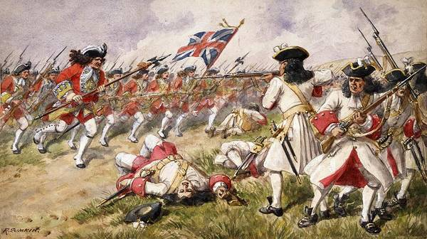 Soldier Drawing - The Battle Of Ramillies, The 16th Foot by Richard Simkin