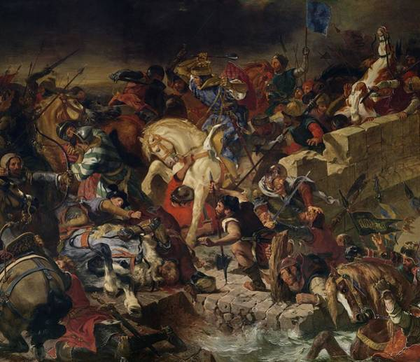 Wall Art - Photograph - The Battle Of Taillebourg, 21st July 1242, 1837 Oil On Canvas by Ferdinand Victor Eugene Delacroix