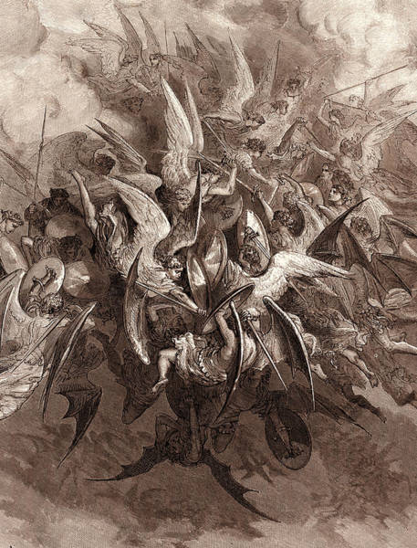 Dor Drawing - The Battle Of The Angels by Litz Collection