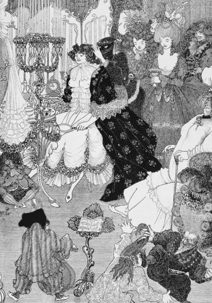 Beardsley Drawing - The Battle Of The Beaux And The Belles by Aubrey Beardsley