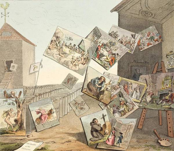 Morality Wall Art - Drawing - The Battle Of The Pictures by William Hogarth