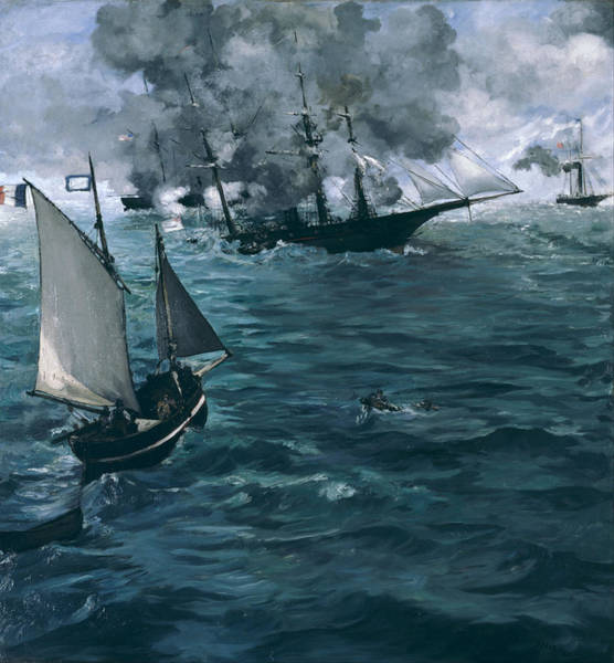 Uss Alabama Painting - The Battle Of The Uss Kearsarge And The Css Alabama by Edouard Manet