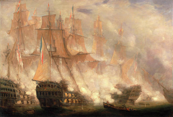 Wall Art - Painting - The Battle Of Trafalgar, John Christian Schetky by Litz Collection