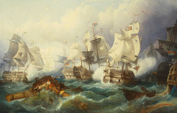 Wall Art - Painting - The Battle Of Trafalgar by Philip James de Loutherbourg