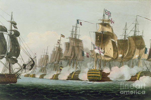 Wall Art - Painting - The Battle Of Trafalgar by Thomas Whitcombe