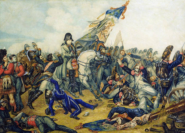 Belgian Photograph - The Battle Of Waterloo In 1815, 1831 Wc & Ink On Paper by Charles Steiben