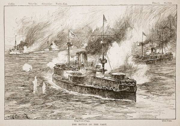 Explosion Drawing - The Battle Of Yalu River, 1894 by William Heysham Overend