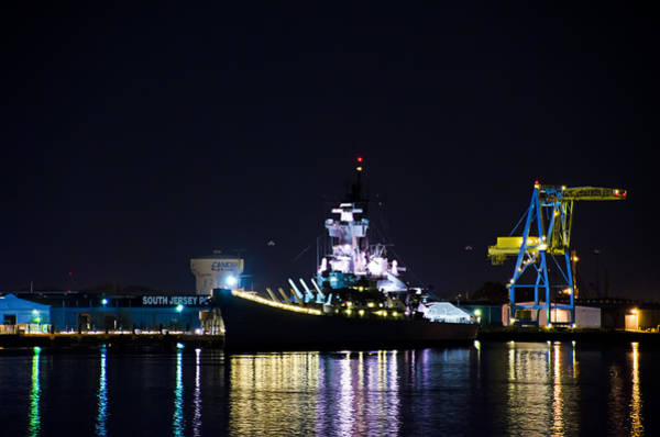 Photograph - The Battleship New Jersey At Night by Bill Cannon