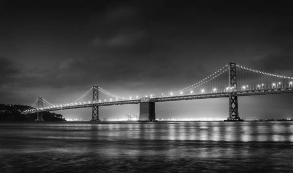 Suspension Bridge Photograph - The Bay Bridge Monochrome by Scott Norris