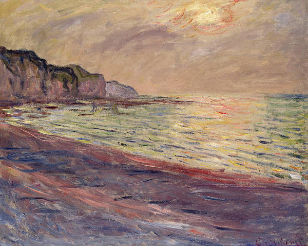 Wall Art - Painting - The Beach At Pourville, Setting Sun by Claude Monet