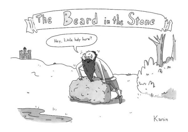 Stone Drawing - The Beard In The Stone -- A Man With His Beard by Zachary Kanin