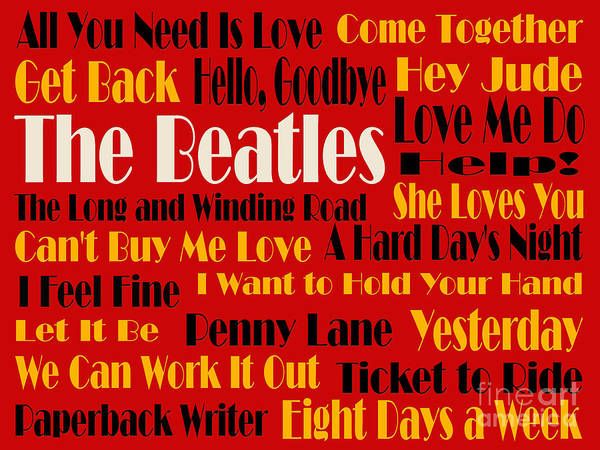 Digital Art - The Beatles 20 Classic Rock Songs 2 by Andee Design