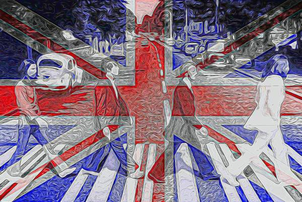 Classic Rock Mixed Media - The Beatles Abbey Road Uk Flag by Dan Sproul