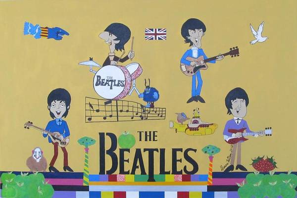 Bass Guitar Painting - The Beatles Yellow Submarine Concert by Donna Wilson