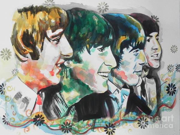 Ringo Star Wall Art - Painting - The Beatles 01 by Chrisann Ellis