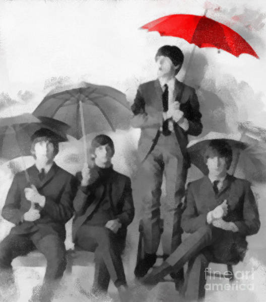 Photograph - The Beatles - Paul's Red Umbrella by Paulette B Wright