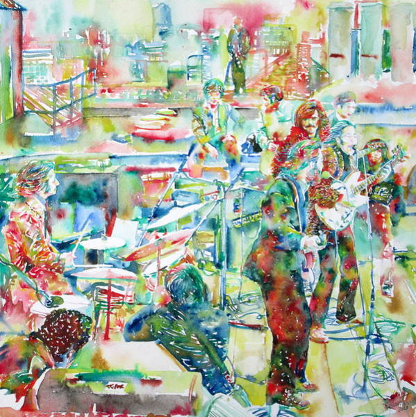 Wall Art - Painting - The Beatles Rooftop Concert - Watercolor Painting by Fabrizio Cassetta