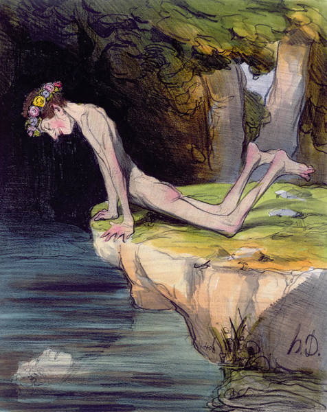 Sarcastic Wall Art - Painting - The Beautiful Narcissus by Honore Daumier