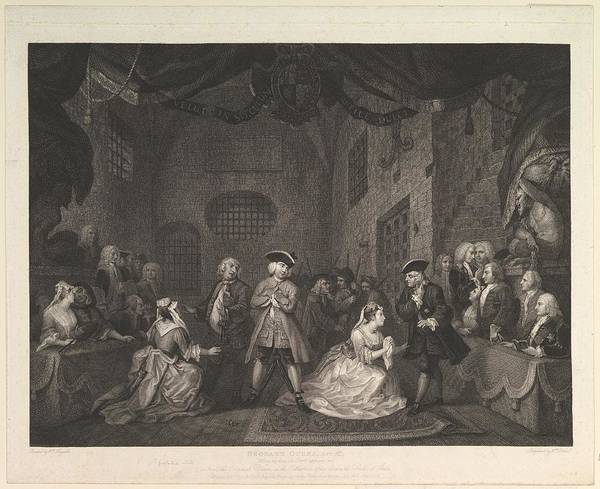 William Blake Drawing - The Beggars Opera, Act IIi by after William Hogarth