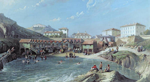West Bay Painting - The Beginning Of Sea Swimming In The Old Port Of Biarritz  by Jean Jacques Alban de Lesgallery