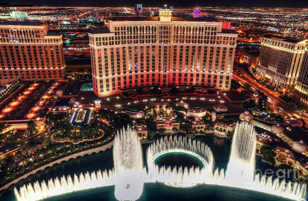 Photograph - The Bellagio Fountains by Eddie Yerkish