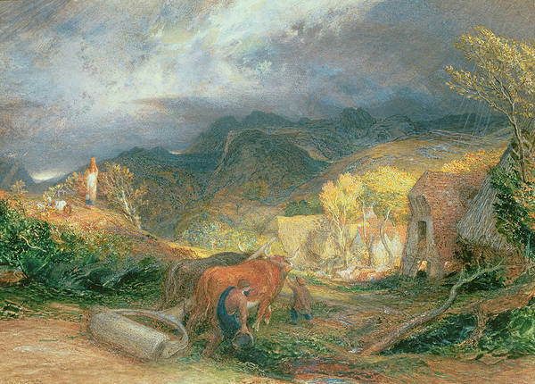 Roller Photograph - The Bellman With Oxen by Samuel Palmer