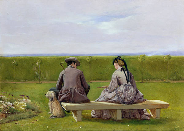 Cane Painting - The Bench By The Sea by Eyre Crowe