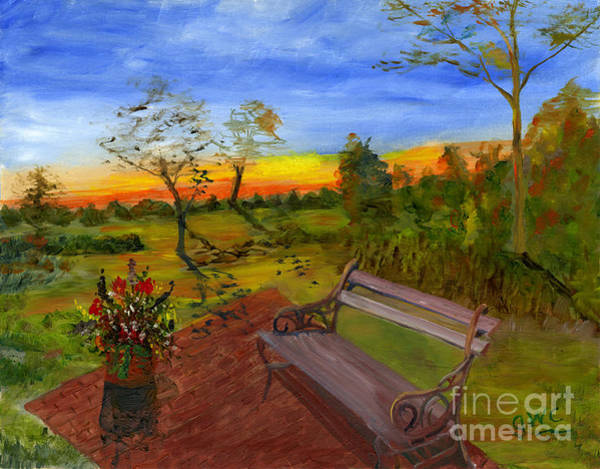 Wall Art - Painting - The Bench by Gloria Condon