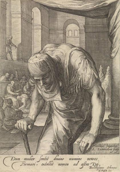 Healing Drawing - The Bent Woman, Jan Saenredam, Balthasarus Schonaeus by Jan Saenredam And Balthasarus Schonaeus And Gerard Valck