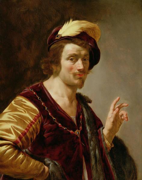 Plume Photograph - The Betrothal The Groom, C.1630 Oil On Canvas Pair Of 42408 by Jan van Bijlert or Bylert