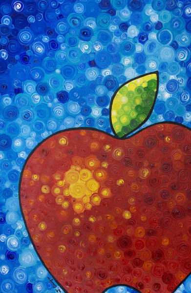 Art For Sale Online Painting - The Big Apple - Red Apple By Sharon Cummings by Sharon Cummings
