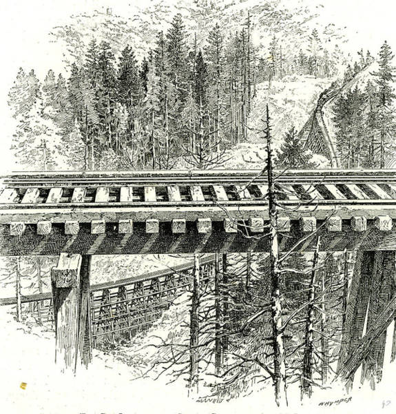 Wall Art - Drawing - The Big Loop On The Shasta Railway Near Mccloud 1891 Usa by American School