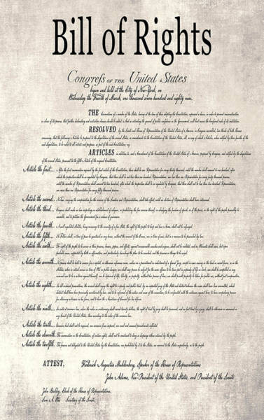 Equal Rights Wall Art - Digital Art - The Bill Of Rights Parchment by Daniel Hagerman