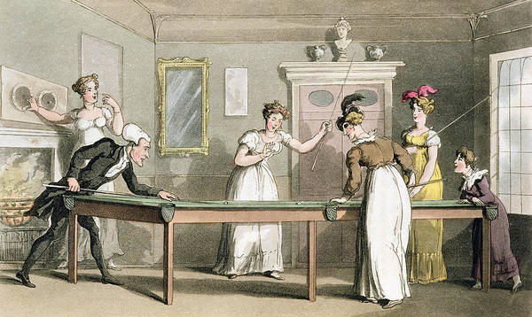 Georgian Drawing - The Billiard Table, From The Tour Of Dr by Thomas Rowlandson