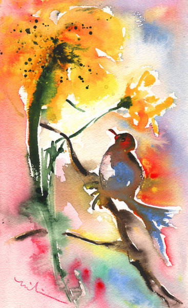 Painting - The Bird And The Flower 01 by Miki De Goodaboom