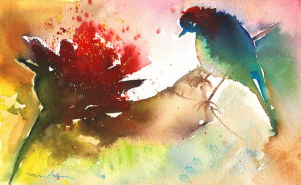 Painting - The Bird And The Flower 02 by Miki De Goodaboom