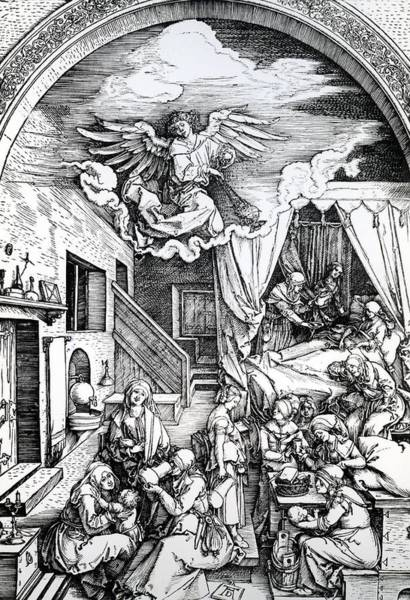 Bedroom Drawing - The Birth Of The Virgin, From The Cycle Of The Life Of The Virgin, 1511 by Albrecht Durer or Duerer
