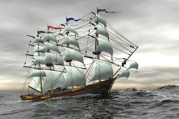 Speed Boat Digital Art - The Black Kat by Michael Wimer