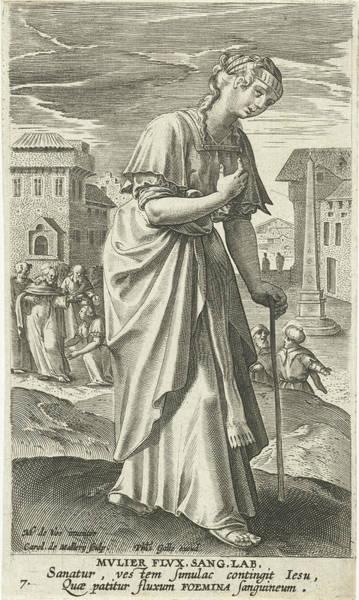 Healing Drawing - The Bleeding Woman, Karel Van Mallery, Philips Galle by Karel Van Mallery And Philips Galle And Cornelis Kiliaan