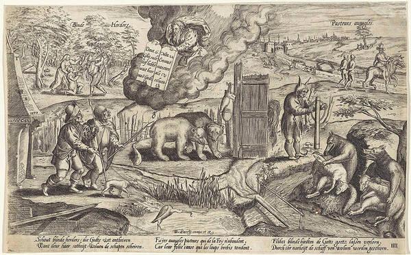 Allegorical Figure Drawing - The Blind Shepherds, Antonie Wierix II by Antonie Wierix (ii) And Willem Van Haecht (i)