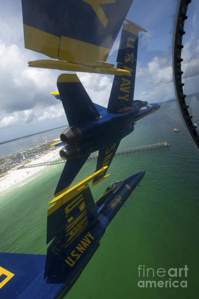A-18 Hornet Wall Art - Photograph - The Blue Angels Perform The Diamond 360 by Stocktrek Images