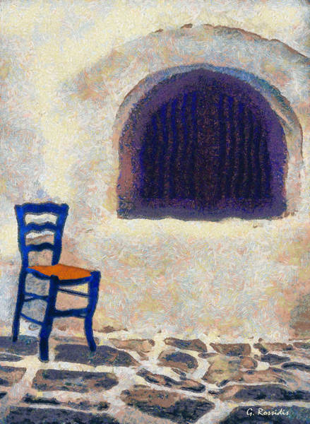 Amorgos Painting - The Blue Chair B by George Rossidis