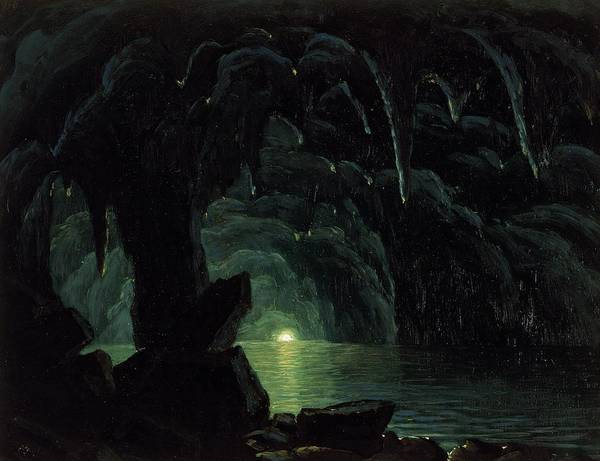 Tunnel Painting - The Blue Grotto by Albert Bierstadt