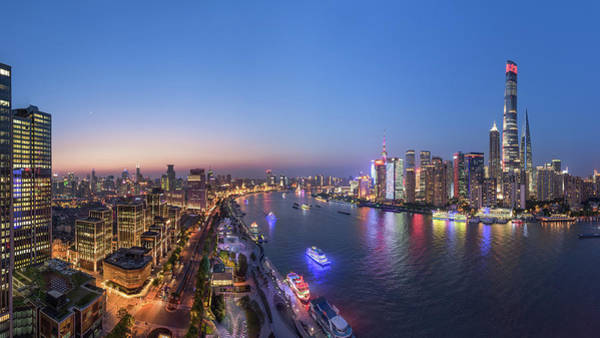 Chinese Photograph - The Blue Hour In Shanghai by Barry Chen
