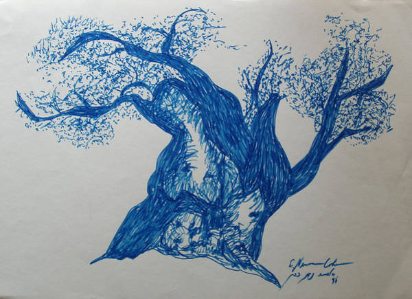 Spontaneous Drawing - The Blue Olive Tree by Esther Newman-Cohen