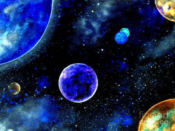 Star Cluster Painting - The Blue Planet by Bill Holkham