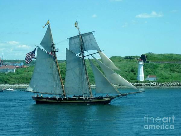 Fireboat Wall Art - Photograph - American Tall Ship Sails Past Mcnabs Island by John Malone